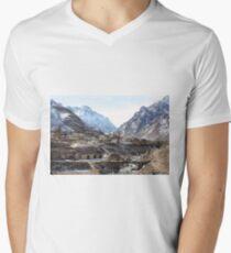 #Mountains, #road, #houses, #river, #mountain #village #Tawlula  #Karachay #Balkar #Къарачай #Малкъар #Qaraçay #Malqar #Tawlu #Karachays #Balkars  Men's V-Neck T-Shirt