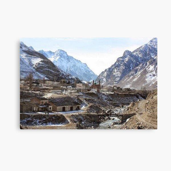 #Mountains, #road, #houses, #river, mountain village Tawlula  Karachay Balkar Canvas Print
