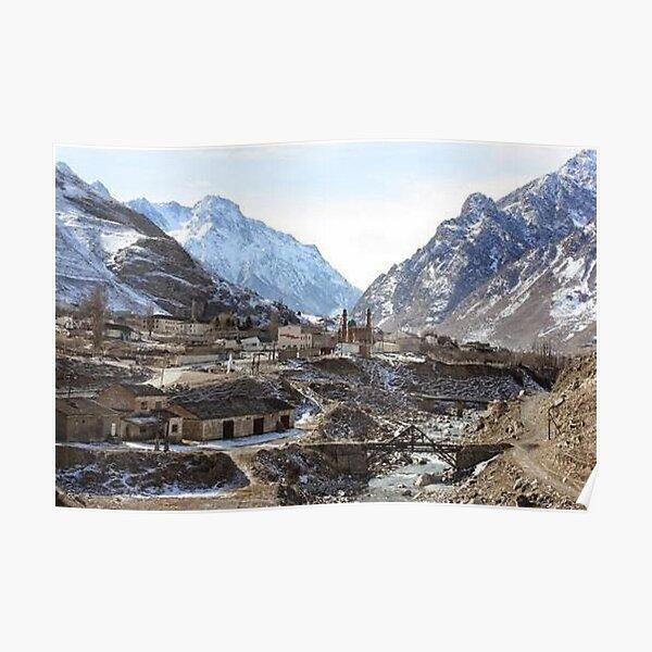 #Mountains, #road, #houses, #river, mountain village Tawlula  Karachay Balkar Poster