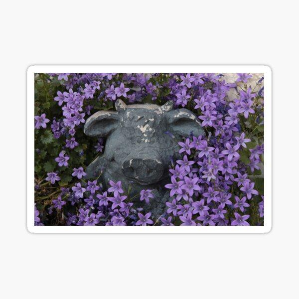 Pig in Purple Flowers Sticker