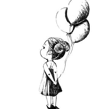 Pequeña niña de globos de freeminds