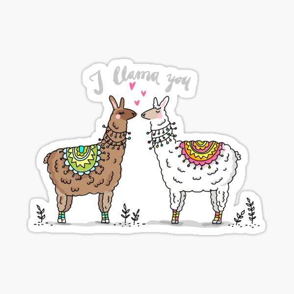 I llama you - Liebende Lamas Sticker