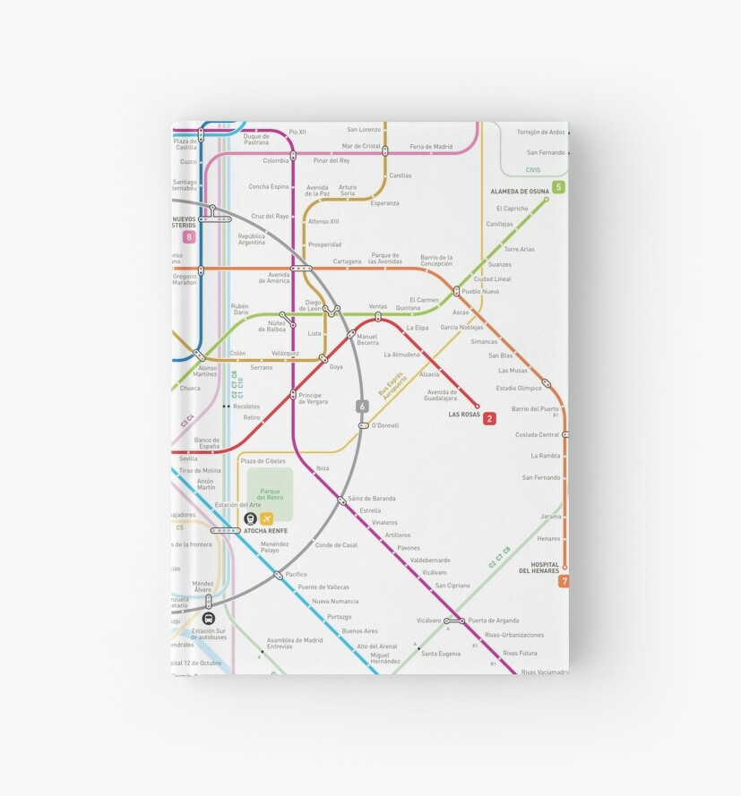 Madrid Metro Map Hardcover Journals By Jug Cerovic Redbubble