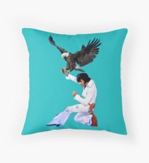 Elvis Hunts with an Eagle Throw Pillow