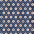 Hexagon-Wabenmuster - Denim- und Rosengold-Palette von Cat Coquillette