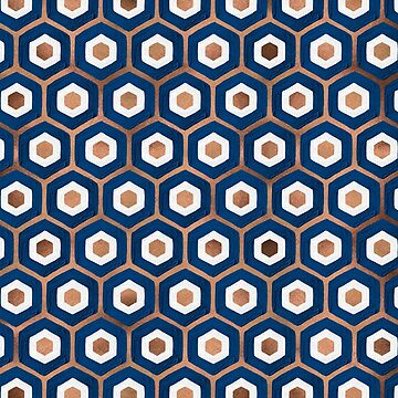 Hexagon Honeycomb Pattern – Denim & Rose Gold Palette by catcoq