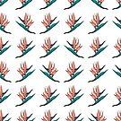 Tropical pattern in coral exotic flowers by TrishaMcmillan