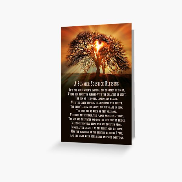 A beautiful pagan summer solstice original blessings poem with Oak Tree And Sun Greeting Card