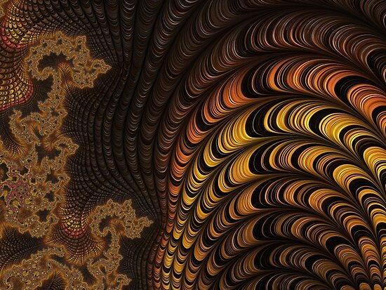 GOLD, ORANGE, brown, FRACTALS, gifts and decor by ackelly4