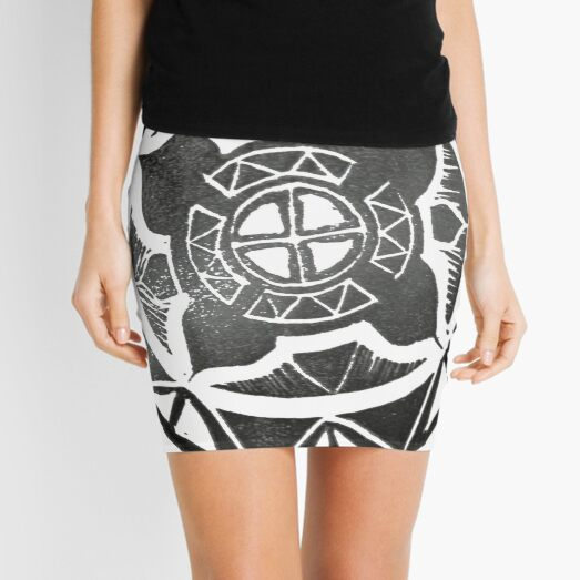 Mandala Effect - Black & White Mini Skirt