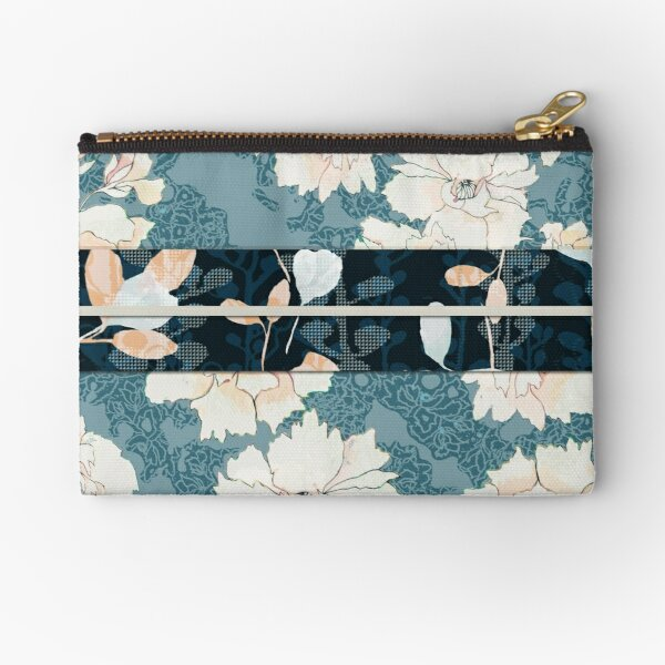 """Teal Peony Blossom with Contrast """"Obi"""" Print Zipper Pouch"""