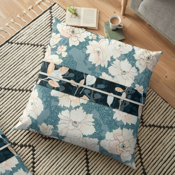 """Teal Peony Blossom with Contrast """"Obi"""" Print Floor Pillow"""