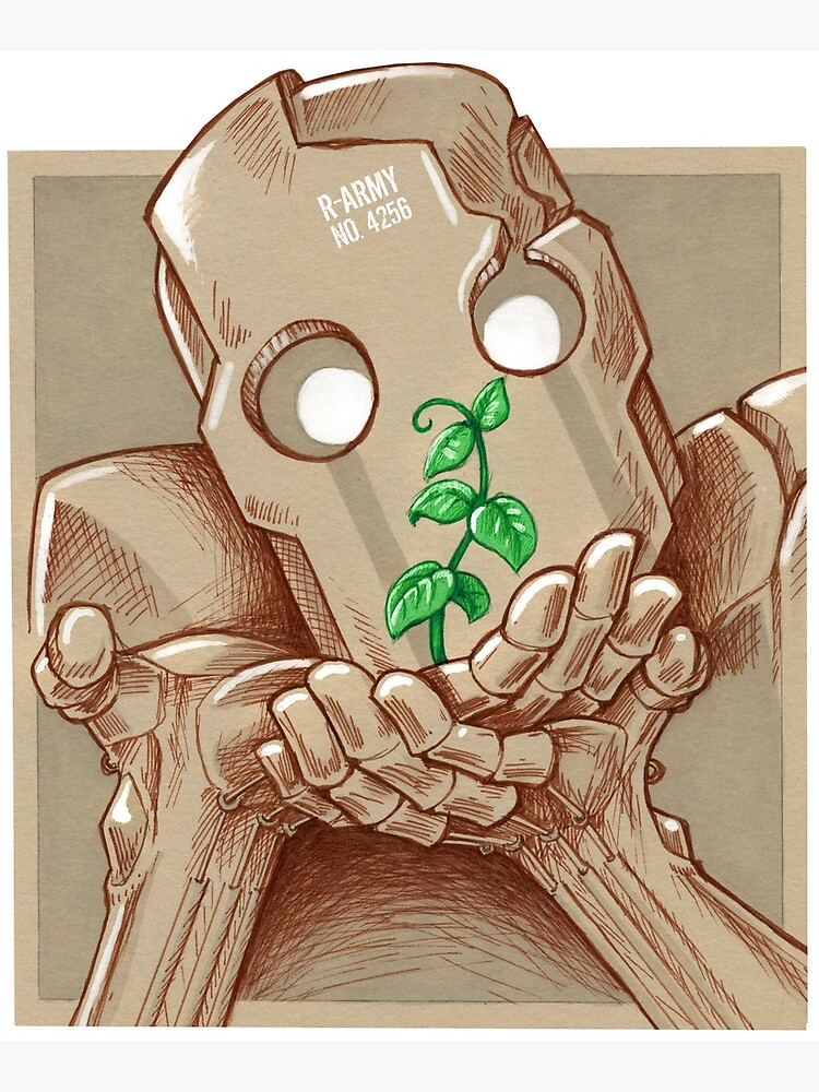 «Robot et plante» par koda-redbubble