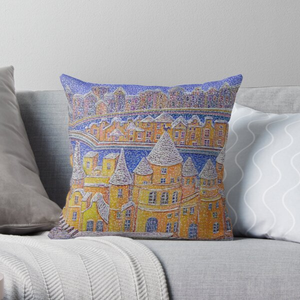 it is snowing over a dream city Throw Pillow