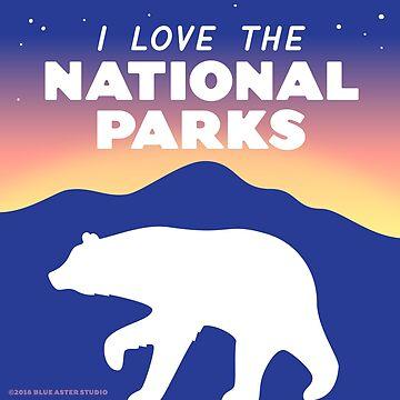 Amo los parques nacionales - oso negro pegatina de BlueAsterStudio