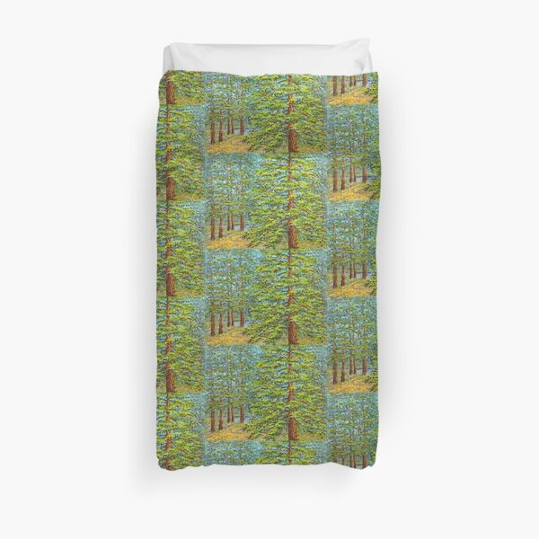 large pine and forest Duvet Cover