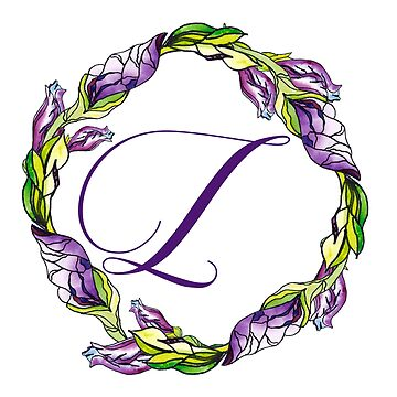 iris floral Letter L - uppercase Alphabet, Monogram, Initial  by ArtOlB