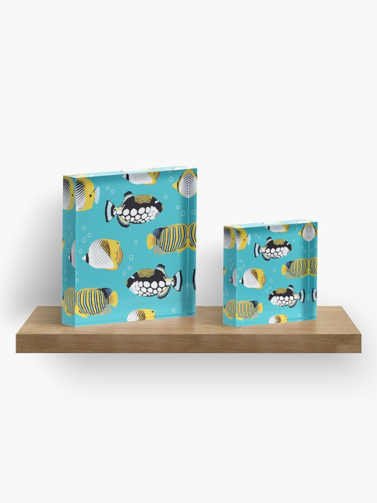 Alternate view of Tropical Fish in water (with stickers) Acrylic Block