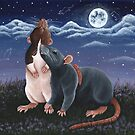 Rat Friends Under The Night Sky by WolfySilver