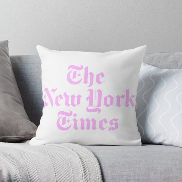 The New York Times Logo Pink  Throw Pillow