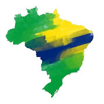Brazil Map Watercolor by lukassfr