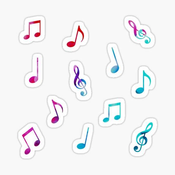 Rainbow Watercolor Music Notes Multipack (12pcs) Sticker