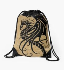 Flying Black Tribal Dragon Drawstring Bag