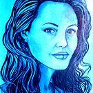 Angelina Jolie celebrity portrait by Margaret Sanderson