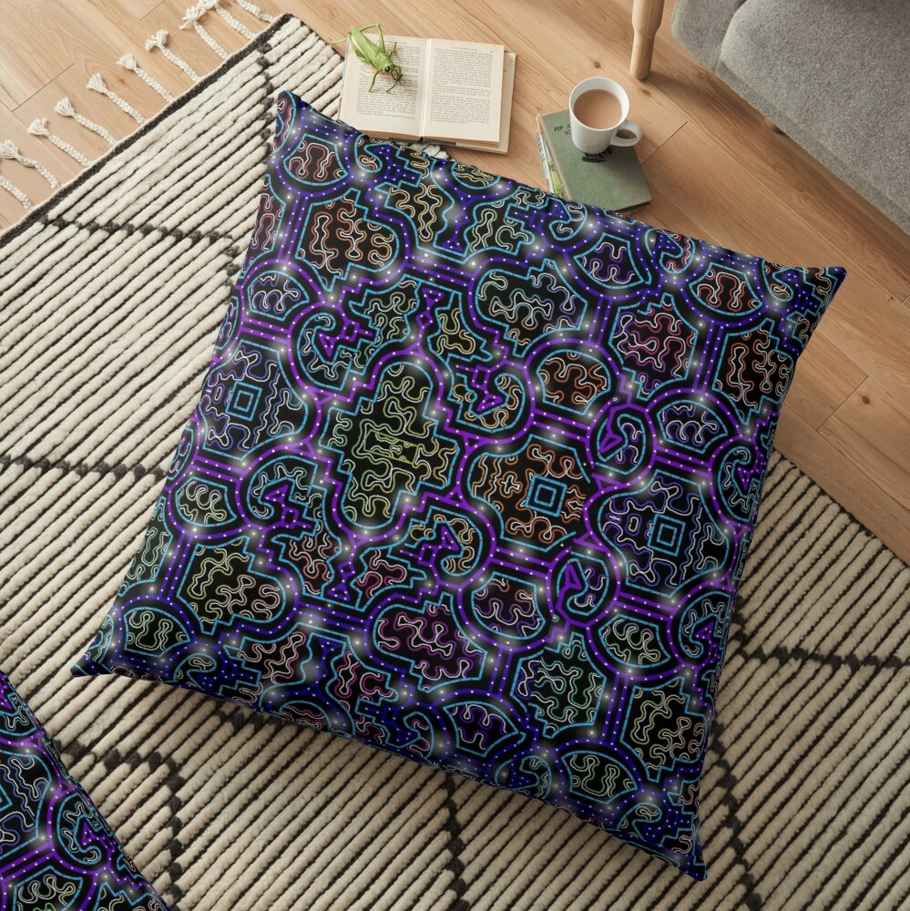 Shipibo Pattern/Ayahuasca Visions Floor Pillow