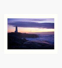 Peggy's Point lighthouse Sunset Nova Scotia Art Print