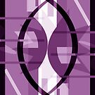 Red-Purple Cosmic Collision Abstract by Jenny Meehan