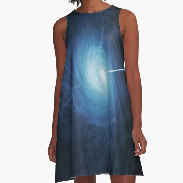 abstract, astronomy, energy, flame, space, motion, science, blur, fantasy, moon, futuristic, vertical, large, smoke - physical structure, exploding, explosions in the sky, textured A-Line Dress