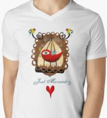 Just married key of universal declaration bird rights tee shirt Men's V-Neck T-Shirt