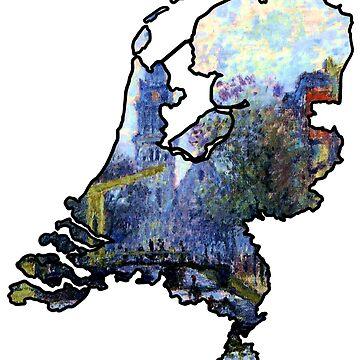 Monet Amsterdam - Netherlands (Famous Paintings - De Groenburgwal en de Zuiderkerk) by From-Now-On