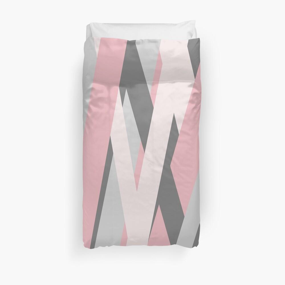 Pink Grey Stripes by ArtandPatterns1 Duvet Cover
