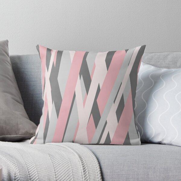 Pink Grey Stripes  Throw Pillow
