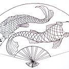two fish fan by Leanne Inwood