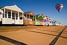 Southwold Beach huts with Balloon by Geoff Carpenter