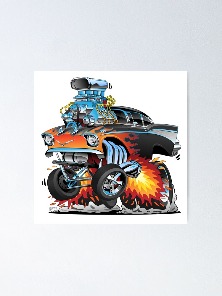 Alternate view of Classic hot rod 57 gasser drag racing muscle car cartoon Poster