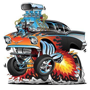 Classic hot rod 57 gasser drag racing muscle car cartoon by hobrath