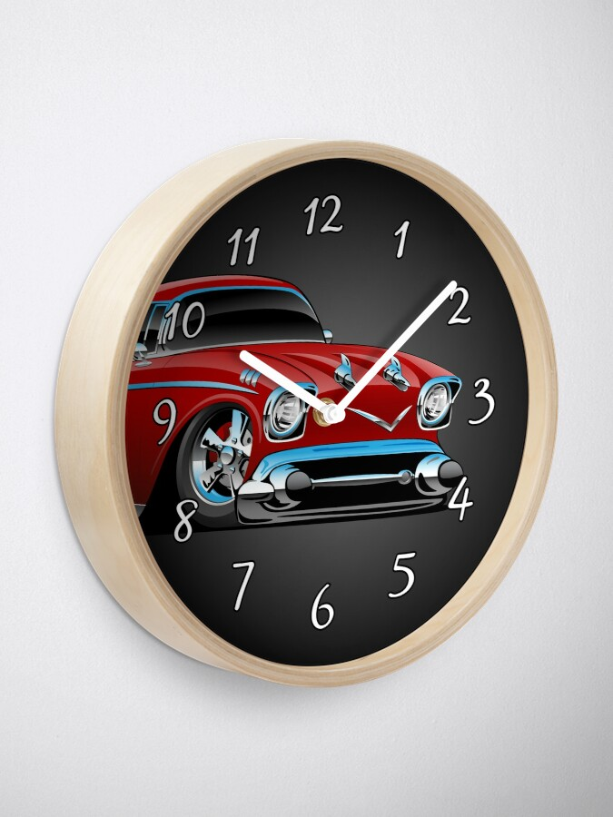 Alternate view of Classic hot rod 57 muscle car, low profile, big tires and rims, candy apple red cartoon Clock