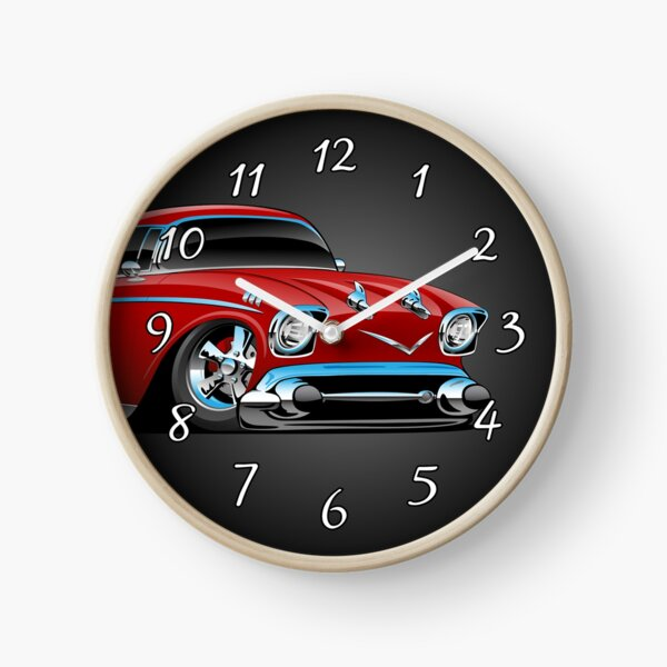Classic hot rod 57 muscle car, low profile, big tires and rims, candy apple red cartoon Clock
