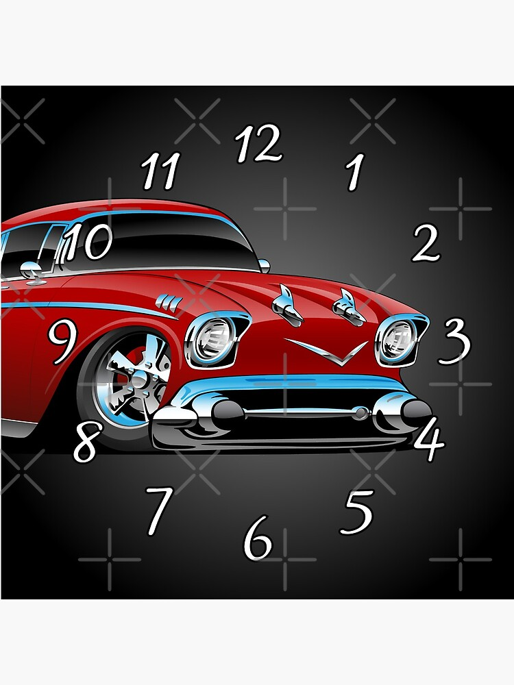 Classic hot rod 57 muscle car, low profile, big tires and rims, candy apple red cartoon by hobrath