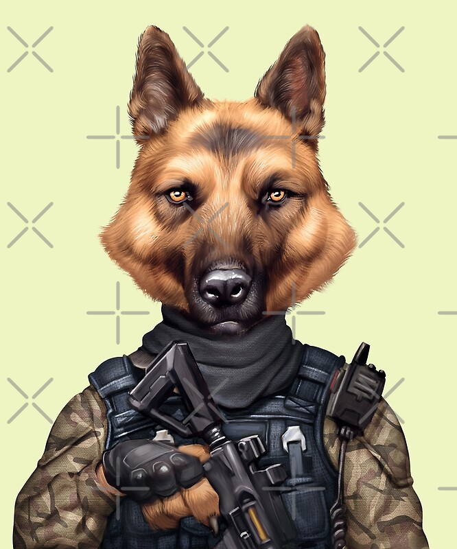 Funny Cool Army Military German Shepherd Soldier Dog Art Print By