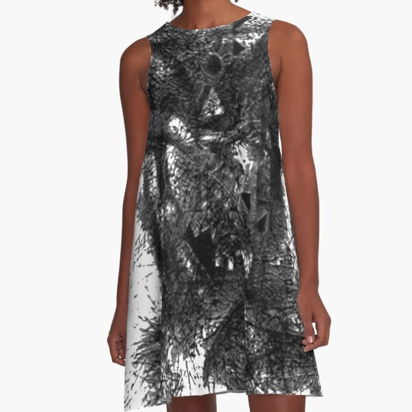 #illustration, #engraving, #tree, #one, #winter, #old, #etching, #snow, #monochrome A-Line Dress