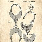 US Patent for Handcuffs - Circa 1880 by Marlene Watson