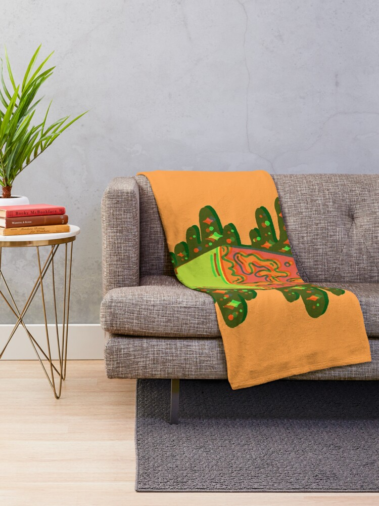 Alternate view of Lit Lava Lamp in orange in 3D Throw Blanket