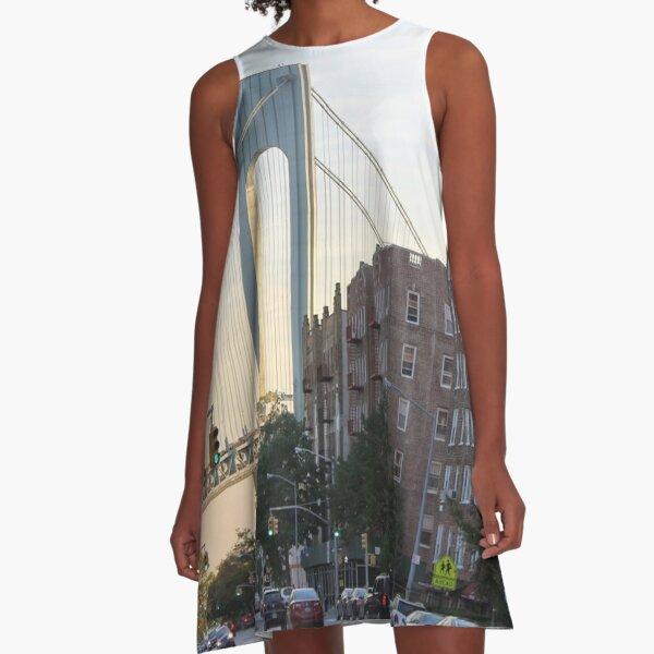 Verrazano–Narrows Bridge, Fort Hamilton, New York City, USA, famous place, international landmark, american culture, city A-Line Dress