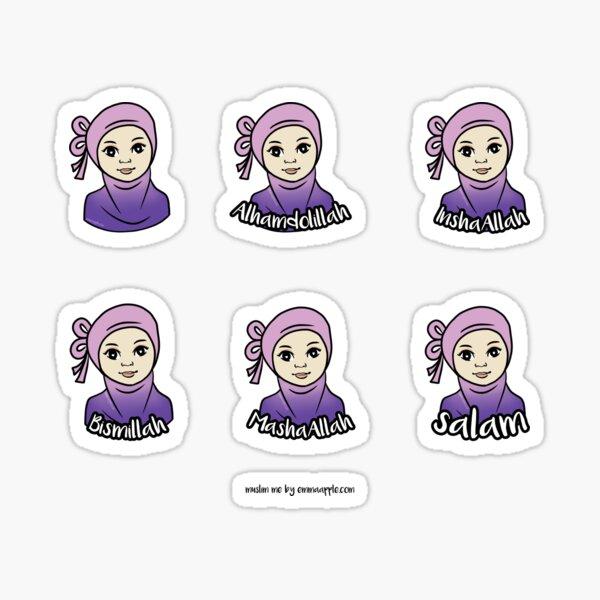Original Muslim Me Pink & Purple Bow Hijabi Cartoon Sticker