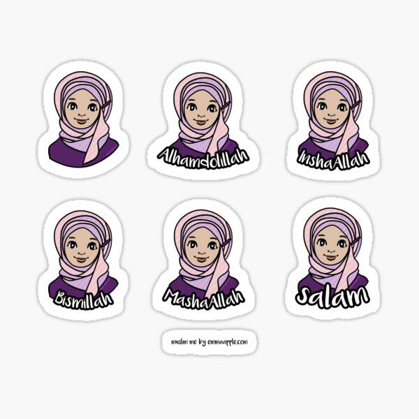 Original Muslim Me Purple & Pink Hijabi Cartoon Sticker